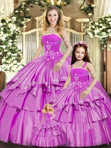Lilac Lace Up Vestidos de Quinceanera Beading and Ruffled Layers Sleeveless Floor Length