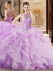 Halter Top Sleeveless Brush Train Lace Up Sweet 16 Quinceanera Dress Lilac Organza