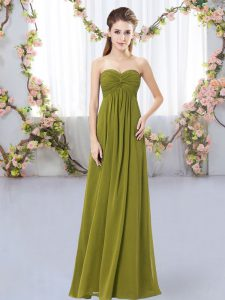 Olive Green Chiffon Zipper Sweetheart Sleeveless Floor Length Dama Dress Ruching