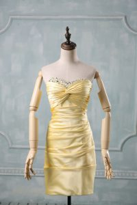 Pretty Yellow Taffeta Side Zipper Sweetheart Sleeveless Mini Length Prom Evening Gown Beading and Ruching