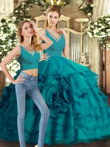 Beauteous Teal Sweet 16 Dresses Sweet 16 and Quinceanera with Ruffled Layers V-neck Sleeveless Sweep Train Backless
