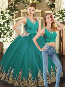 Luxury Floor Length Turquoise Sweet 16 Dresses Tulle Sleeveless Embroidery