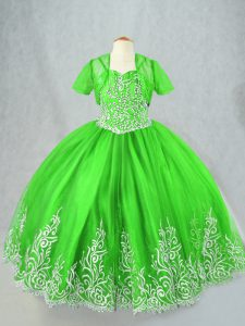 Ball Gowns Tulle Spaghetti Straps Sleeveless Beading and Embroidery Floor Length Lace Up High School Pageant Dress