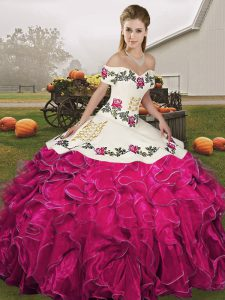 Fuchsia Sleeveless Organza Lace Up 15 Quinceanera Dress for Military Ball and Sweet 16 and Quinceanera