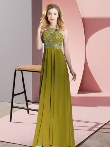 High Quality Empire Evening Dress Olive Green Scoop Chiffon Sleeveless Floor Length Backless