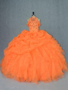 Sleeveless Floor Length Beading and Ruffles Lace Up Quince Ball Gowns with Orange