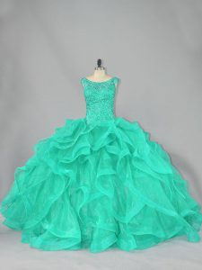 Captivating Turquoise Organza Lace Up Scoop Sleeveless Floor Length Ball Gown Prom Dress Beading and Ruffles