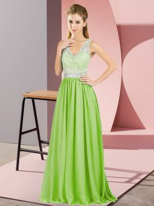 Yellow Green V-neck Zipper Beading and Lace and Appliques Prom Dresses Sleeveless