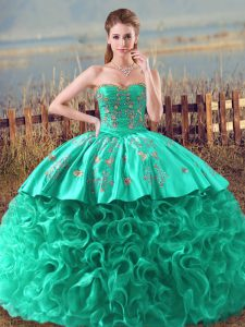 Wonderful Sweetheart Sleeveless Fabric With Rolling Flowers 15 Quinceanera Dress Embroidery and Ruffles Brush Train Lace Up