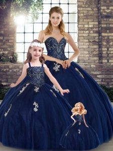 Decent Navy Blue Sweetheart Lace Up Beading and Appliques Sweet 16 Dress Sleeveless