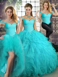 Aqua Blue Tulle Lace Up Off The Shoulder Sleeveless Floor Length Sweet 16 Quinceanera Dress Beading and Ruffles