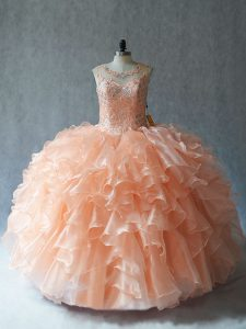 Floor Length Lace Up Ball Gown Prom Dress Peach for Sweet 16 and Quinceanera with Beading and Ruffles