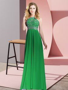 Green Empire Scoop Sleeveless Chiffon Floor Length Backless Beading Prom Party Dress