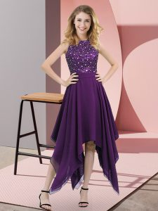 Purple Sleeveless Chiffon Zipper Red Carpet Gowns for Prom and Party