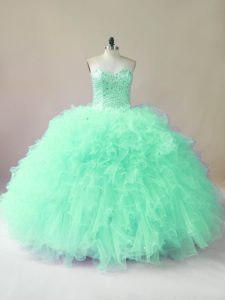 Apple Green Sweetheart Lace Up Beading and Ruffles Quinceanera Dress Sleeveless