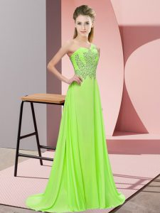 Sleeveless Floor Length Beading Side Zipper Prom Dresses