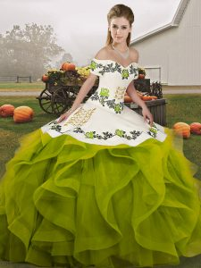 Beautiful Ball Gowns Quince Ball Gowns Olive Green Off The Shoulder Tulle Sleeveless Floor Length Lace Up