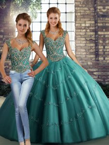 High End Floor Length Lace Up Quince Ball Gowns Teal for Military Ball and Sweet 16 and Quinceanera with Beading and Appliques