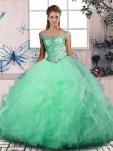 Fashionable Tulle Off The Shoulder Sleeveless Lace Up Beading and Ruffles Quinceanera Gown in Apple Green