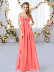 Watermelon Red Sleeveless Floor Length Ruching Zipper Quinceanera Dama Dress