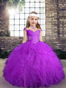 Floor Length Lace Up Custom Made Pageant Dress Purple for Party and Wedding Party with Beading and Ruffles