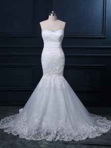 White Zipper Wedding Gown Lace Sleeveless Brush Train
