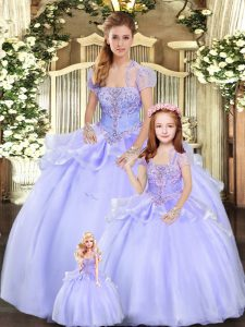 Lavender Organza Lace Up Strapless Sleeveless Floor Length Quinceanera Gown Beading and Appliques