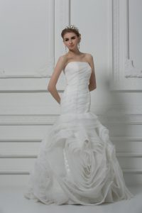 Fashion White Strapless Lace Up Ruching Bridal Gown Brush Train Sleeveless
