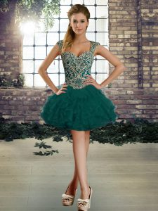 Dark Green Ball Gowns Straps Sleeveless Organza Mini Length Lace Up Beading and Ruffles Prom Party Dress