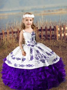 Purple Straps Lace Up Embroidery and Ruffles High School Pageant Dress Sleeveless
