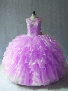Fancy Lilac Organza Lace Up Scoop Sleeveless Floor Length Sweet 16 Dresses Beading and Ruffles