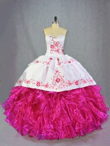 Sleeveless Beading and Embroidery and Ruffles Lace Up Sweet 16 Dress with Hot Pink Brush Train