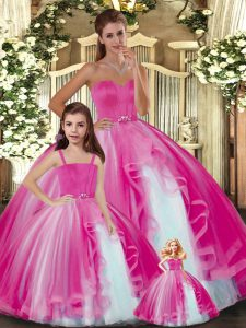 Sleeveless Floor Length Ruffles Lace Up Ball Gown Prom Dress with Hot Pink