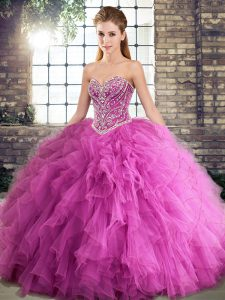Glittering Floor Length Lace Up 15th Birthday Dress Rose Pink for Military Ball and Sweet 16 and Quinceanera with Beading and Ruffles