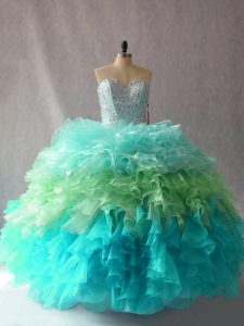 Fine Multi-color Lace Up Ball Gown Prom Dress Beading and Ruffles Sleeveless Floor Length
