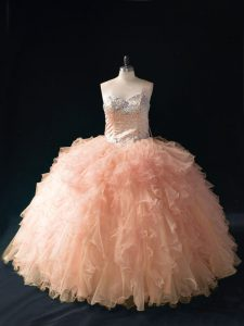 Sleeveless Tulle Floor Length Lace Up Ball Gown Prom Dress in Peach with Beading and Ruffles