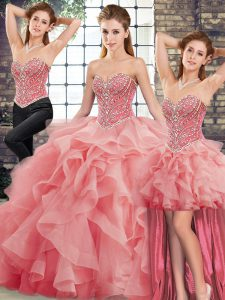 Glamorous Watermelon Red Quinceanera Gowns Military Ball and Sweet 16 and Quinceanera with Beading and Ruffles Sweetheart Sleeveless Brush Train Lace Up