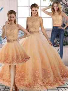 Most Popular Peach Sleeveless Sweep Train Lace 15th Birthday Dress