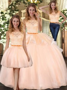 Extravagant Peach Sleeveless Floor Length Lace Zipper 15 Quinceanera Dress