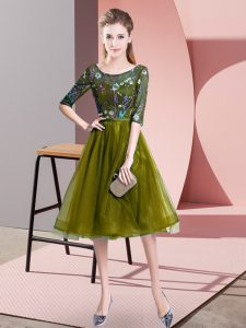 Artistic Olive Green Empire Scoop Half Sleeves Tulle Knee Length Lace Up Embroidery Damas Dress