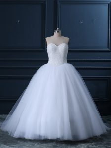 Captivating White Sleeveless Tulle Brush Train Lace Up Wedding Gowns for Wedding Party