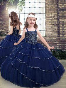 Floor Length Ball Gowns Sleeveless Navy Blue Glitz Pageant Dress Lace Up