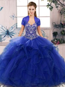Floor Length Lace Up Vestidos de Quinceanera Royal Blue for Military Ball and Sweet 16 and Quinceanera with Beading and Ruffles