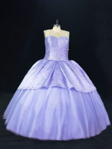Floor Length Lace Up Quinceanera Dresses Lavender for Sweet 16 and Quinceanera with Beading