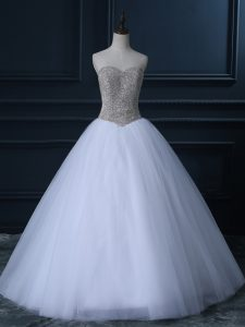 New Style White Sleeveless Beading and Bowknot Floor Length Wedding Gown