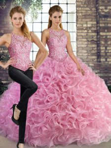 Rose Pink Scoop Lace Up Beading Quince Ball Gowns Sleeveless