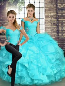 Decent Aqua Blue Quinceanera Gown Military Ball and Sweet 16 and Quinceanera with Beading and Ruffles Off The Shoulder Sleeveless Lace Up