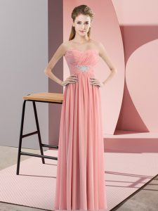 Noble Sweetheart Sleeveless Prom Dress Floor Length Beading Watermelon Red Chiffon