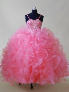 Sleeveless Lace Up Floor Length Beading and Ruffles High School Pageant Dress