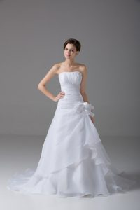Strapless Sleeveless Organza Wedding Dresses Hand Made Flower Brush Train Lace Up